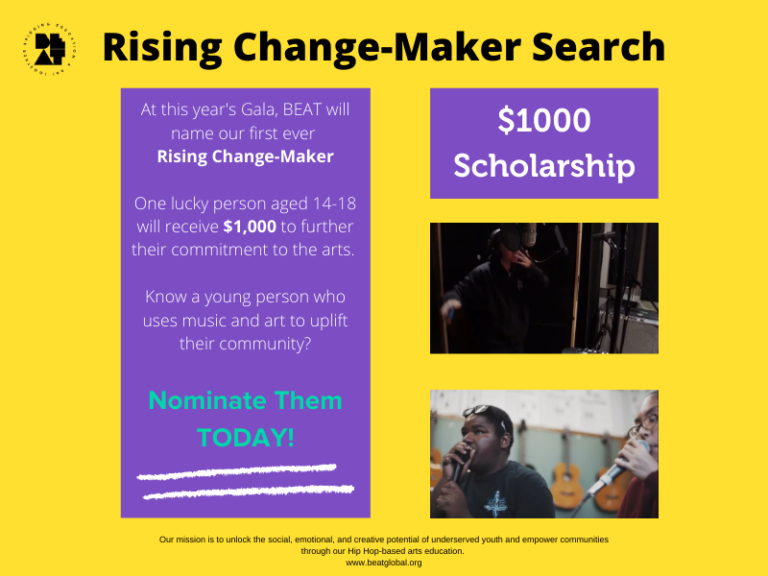 Rising Change-Maker Search $1000 Scholarship informational flyer from 2020.