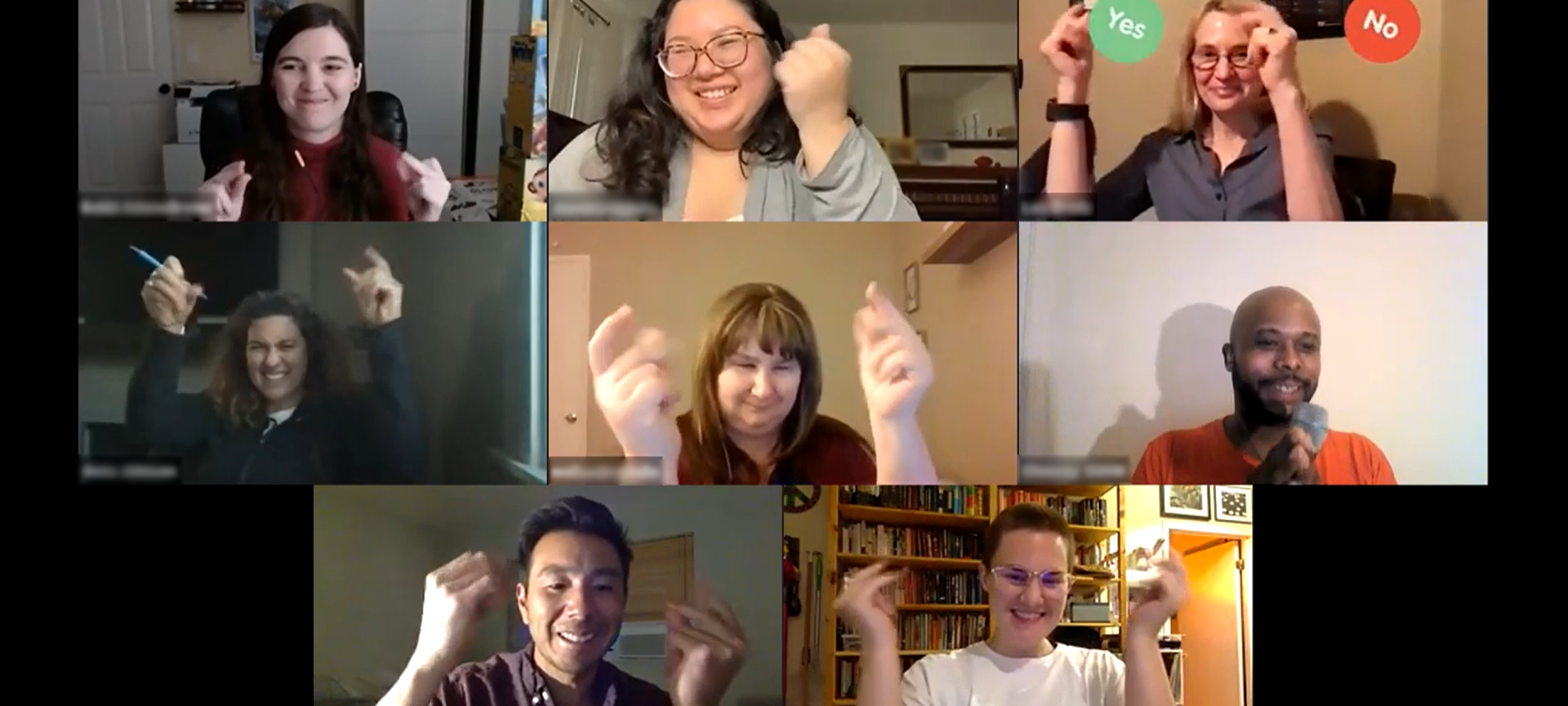 Still image from a BEAT-led Zoom workshop in which 8 individuals of different racial and gender identities snap their fingers and smile.