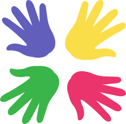 Purple, yellow, pink, and green hand prints in a circle with the fingers facing out.