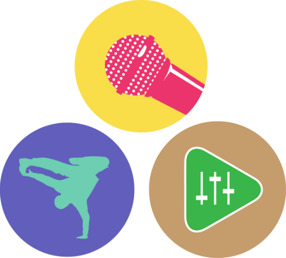 BEAT Rockers, BEAT Breakers, and BEAT Explorers program icon circles in a triangle orientation. BEAT Rockers' icon is a pink and white microphone on yellow background. BEAT Breakers' icon is a teal Bboy in a pose on a purple background. BEAT Explorers' icon is a green and white triangular mixing board on a light brown background.