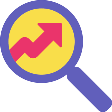 Purple cartoon magnifying glass with a pink arrow on yellow background inside the lens. The arrow is pointing up.