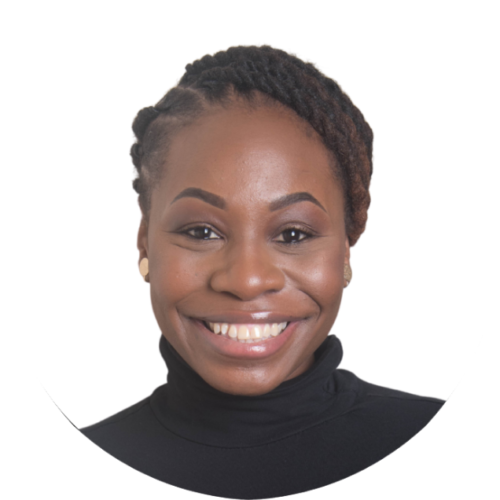 Brittany smiles directly into the camera. She is a Black millennial with her hair pulled back. She is wearing a black turtleneck and gold earrings.