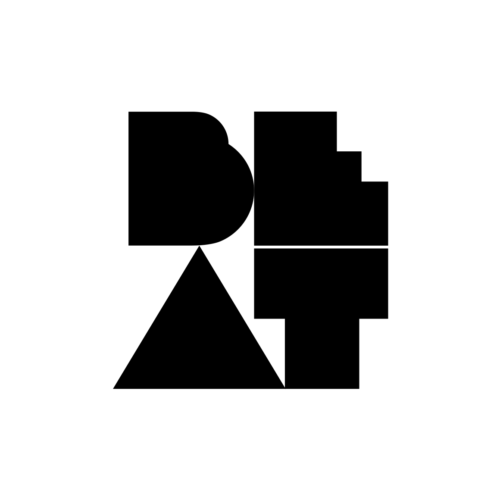 A white circle with the BEAT logo placed centered in black.