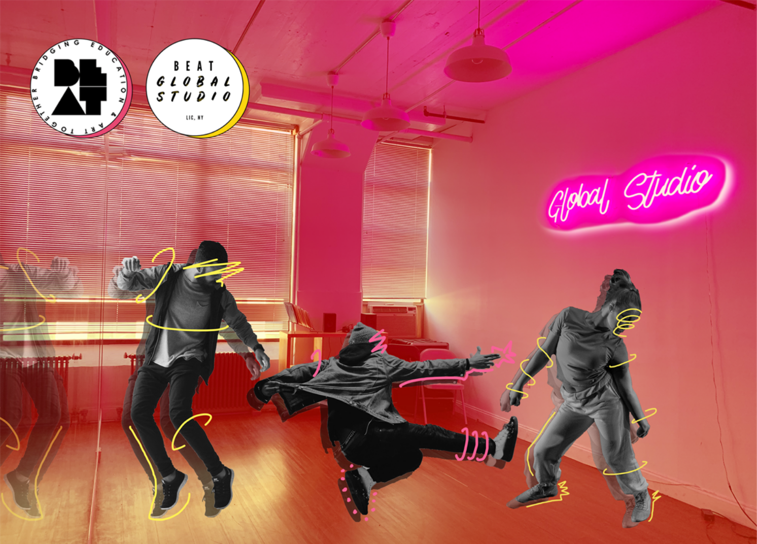 """BEAT Global Studio Graphic that features the studio as the background with a rosey tint, with black and white dancers with yellow and pink motion lines drawn around them. BEAT's logos are in top left corner and there is a glowing pink neon sign that says """"Global Studio"""" on the wall."""