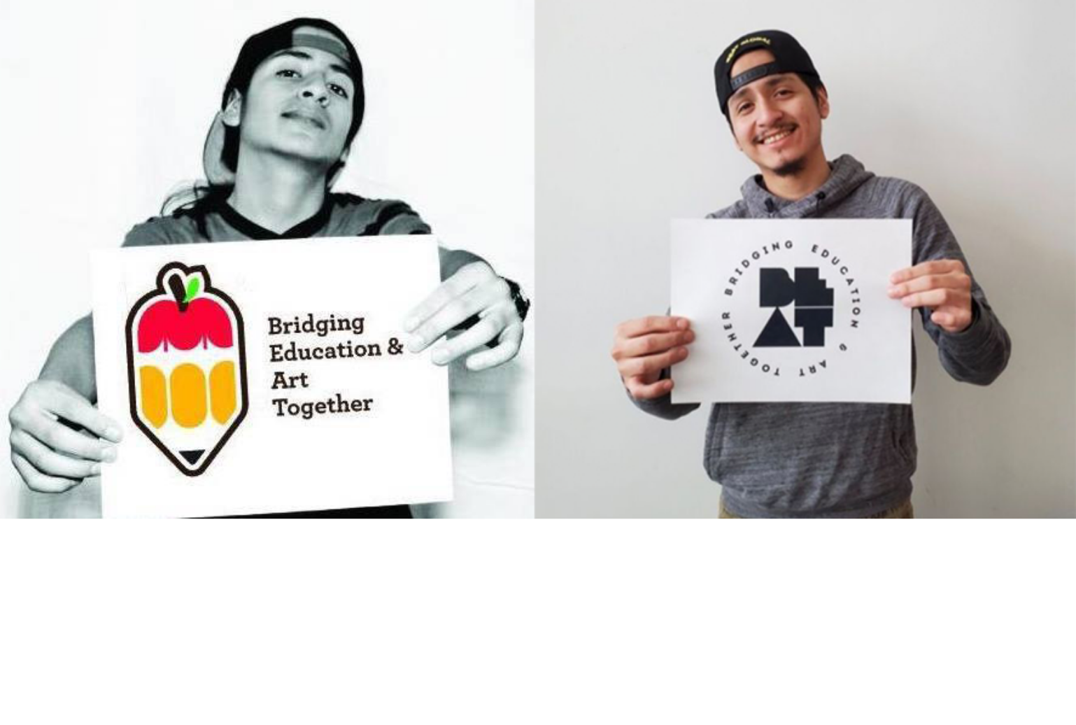 Side by side images of Luiggi holding a piece of paper with the BEAT logo, to show the transformation of both through the years. He is wearing a hoodie and backwards hat in both pictures.