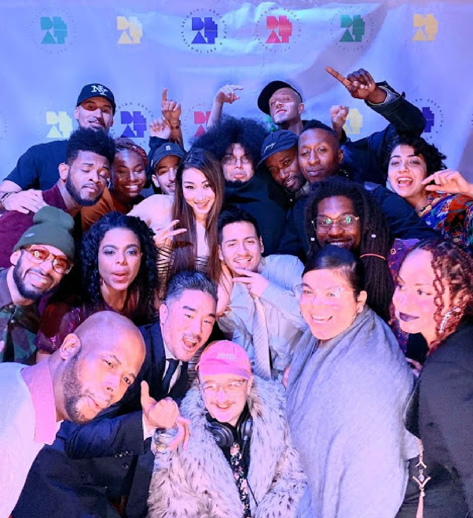 Group selfie of BEAT staff and Teaching Artists from BEAT Birthday Bash in 2019.