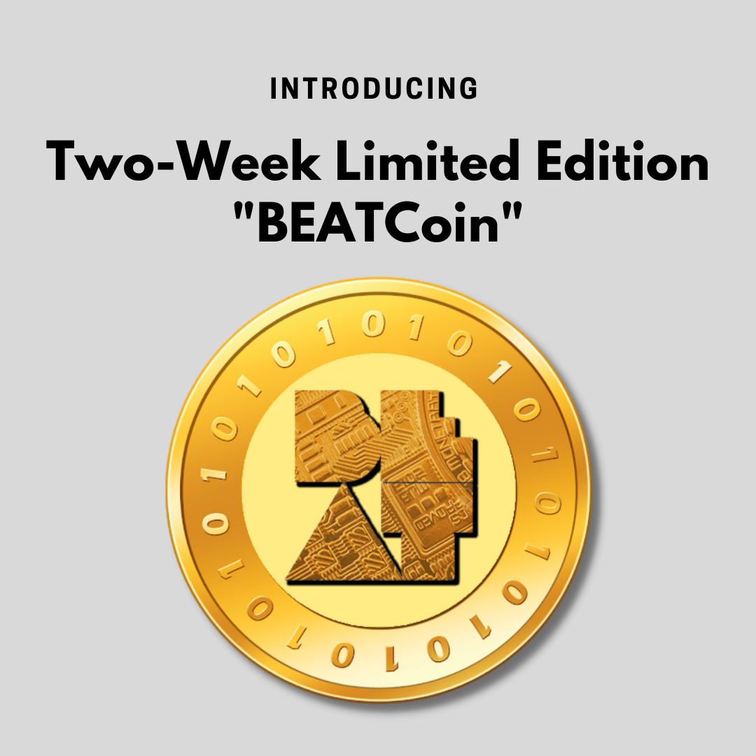 A gold coin with the BEAT logo in the center and ones and zeros along the border of the coin.